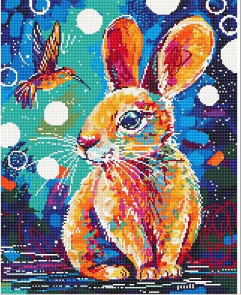 """8/22: Rabbit and Hummingbird (Full drill - round diamonds) 10""""x14"""" (#221)"""