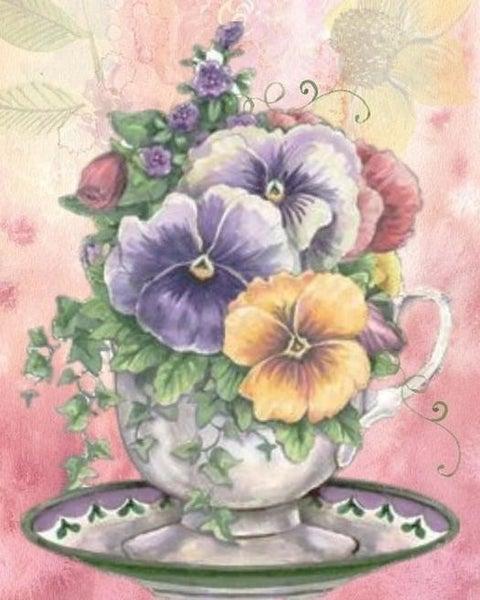 "Full drill - Square Diamonds - Floral Tea Cup - 16""x20"" (GF-395)"