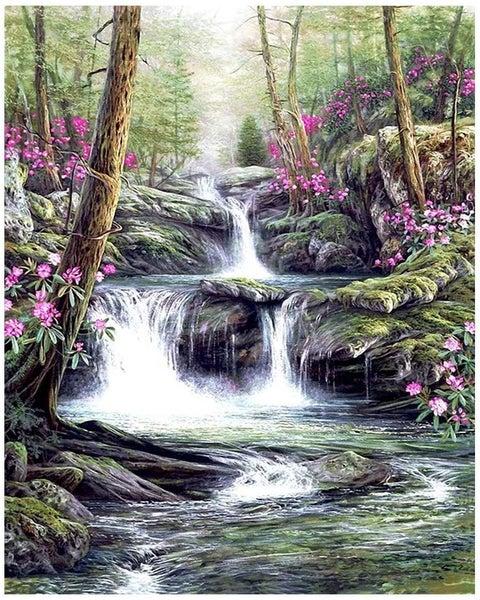 "6/13: Pretty Spring Waterfall (Full drill - square diamonds) 13.5""x17.5"" (#95)"