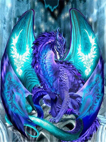 "9/4: Purple and Teal Dragon (Full drill - round diamonds) 9.5""x13.5"" (#392)"