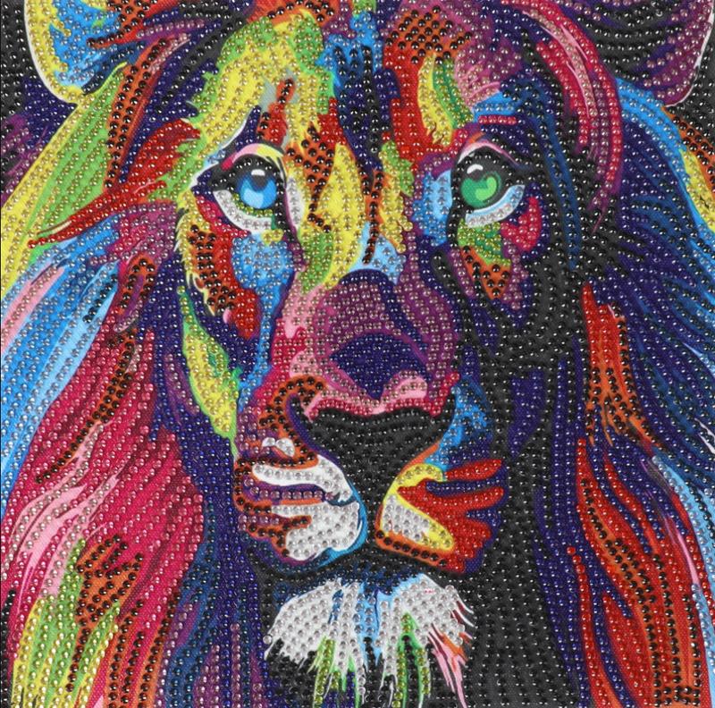 """Colorful Lion (Partial) 9.5""""x9.5"""" (#1591)"""