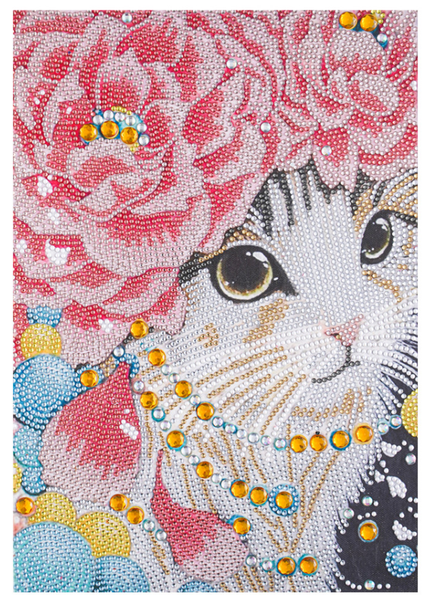 "Pink Flower Cat (Partial) 9.5""x11.5"" (#1588)"
