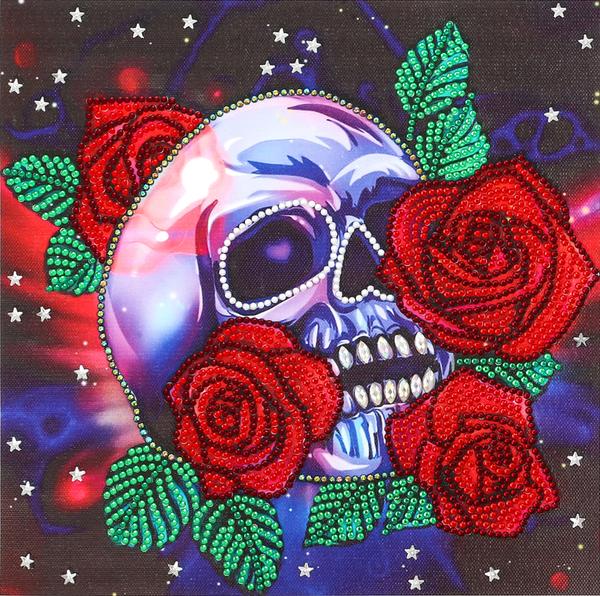 "9/16: Rose Skull (Partial) 9.5""x9.5"" (#1669)"
