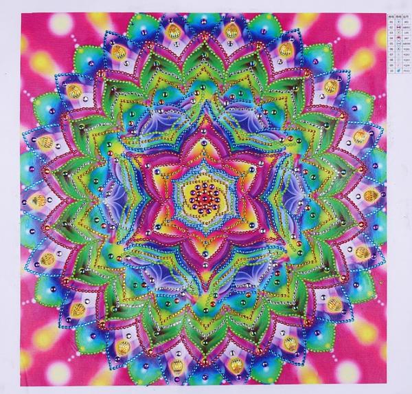 "9/14: Large Pink Mosaic (Partial)  13.5""x13.5""(#704)"