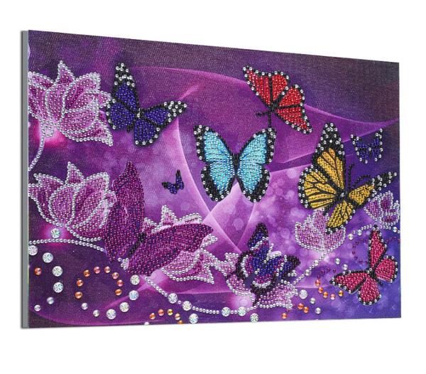 "9/14: Butterflies on Purple (Partial) 9.5""x11.5"" (#724)"