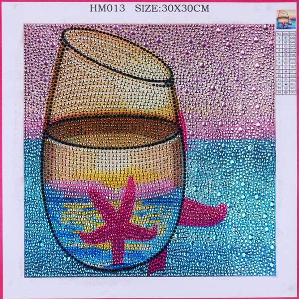 "9/2: Starfish Beach Glass (Diamond Heavy Partial) 9.5""x9.5""(#712)"