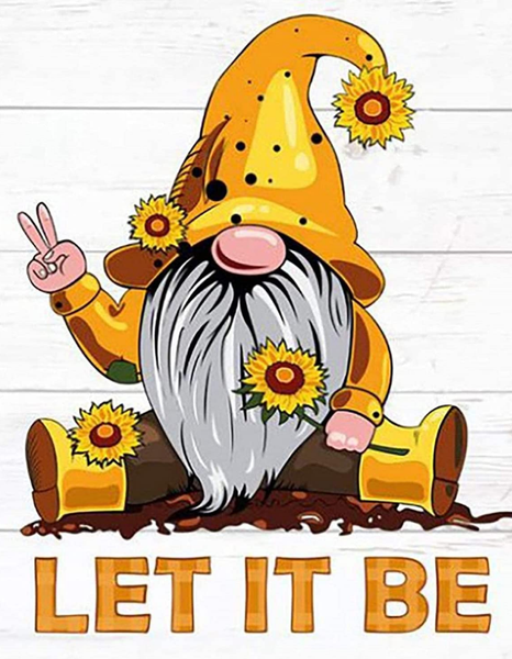 """8/24: Let it Be Gnome Yellow (Full drill - round diamonds) 11.5""""x9.5"""" (#1600)"""