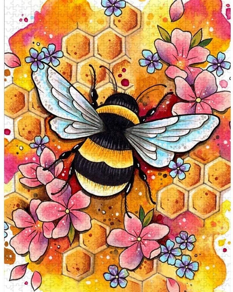 """9/12: Bee (Full drill - round diamonds) 10""""x14"""" (#105)"""