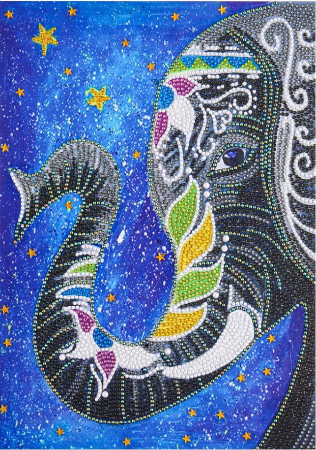 "Elephant on Blue (Partial) 9.5""x11.5"" (#1574)"