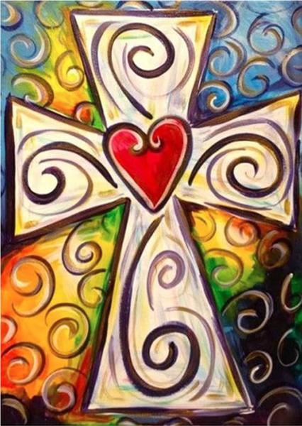 "9/14: Colorful Heart Cross (Full drill - round diamonds) 9.5""x11.5"" (#1255)"