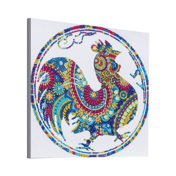 """9/21: Rooster in Circle (Partial) 9.5""""x9.5"""" (#1691)"""