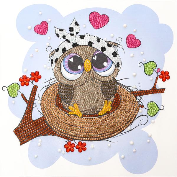 "9/12: Owl in Nest (Partial) 9.5""x9.5"" (#1671)"