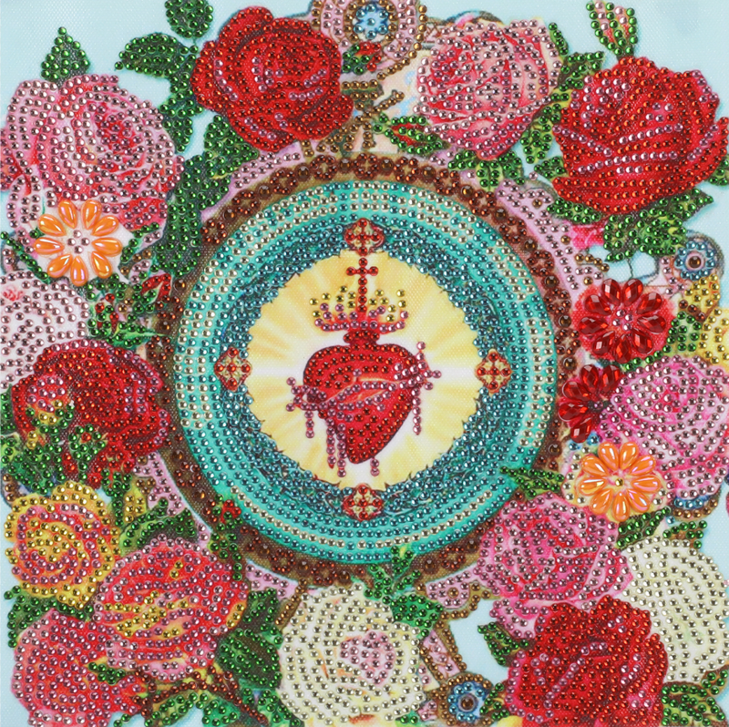 """9/23: Heart and Flowers Mosaic (Partial) 9.5""""x9.5"""" (#502)"""