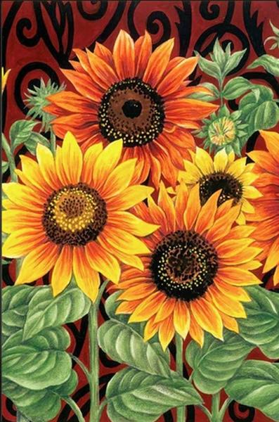 """4/4: Sunflowers (Full drill - round diamonds) 9.5""""x13.5"""" (#905)"""