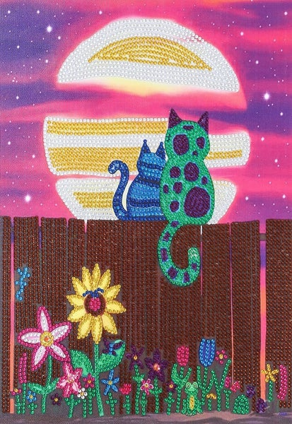 """9/19: Two Moonlight Cats (Partial) 9.5""""x11.5"""" (#321)"""