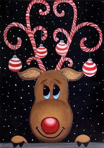 "7/17: Reindeer on Black (Full drill - round diamonds)13.5""x9.5"" (#AA2)"