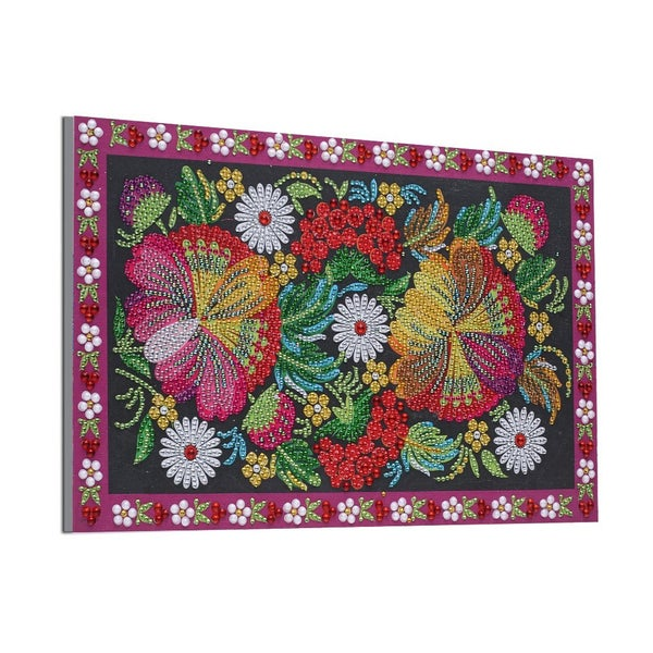 """9/12: Flowers with Pretty Border (Partial) 9.5""""x11.5"""" (#383)"""