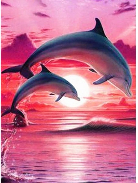 """6/5: Pink Sky Dolphins (Full drill - square diamonds) 13.5""""x17.5"""" (#1011)"""