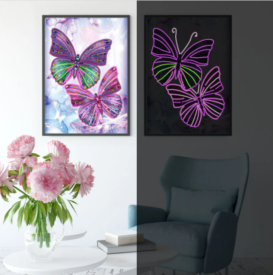 """9/2: NEW Two Butterflies Glow in the Dark (Partial) 9.5""""x11.5"""" (#178)"""