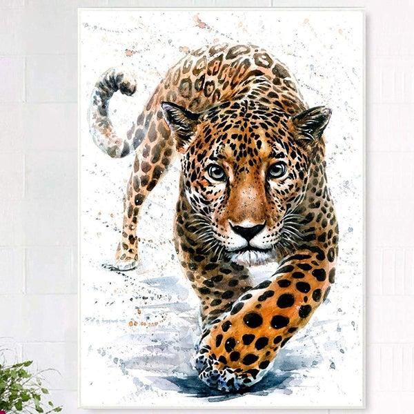 """9/16: Walking Leopard (Full drill - round diamonds) 12""""x16"""" (#1512)"""