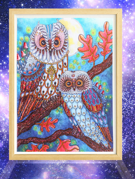 """9/16: Two Owls (Partial) 9""""x11.5"""" (#683)"""