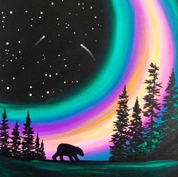 "8/22: Aurora Borealis Bear (Full drill - round diamonds) 9.5""x9.5"" (#908)"