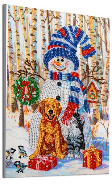 "Snowman with Pets (Partial) 9.5""x11.5"" (#146)"