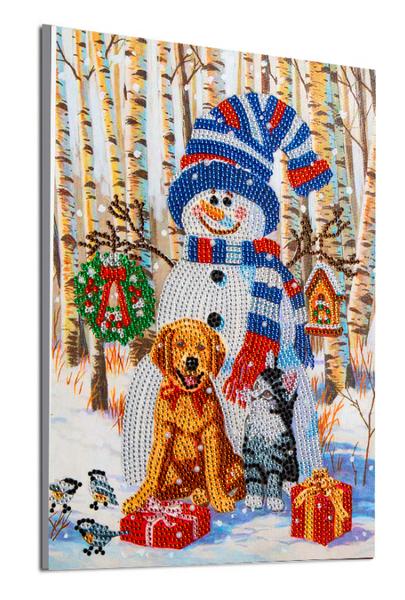 "Snowman with Pets (Partial) 9.5""x11.5"" (#1074)"