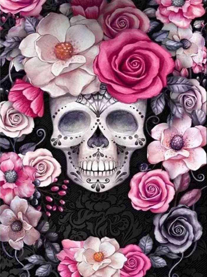 "9/4: Skull with Pink Flowers (Full drill - round diamonds) 11.5""x9.5"" (#229)"