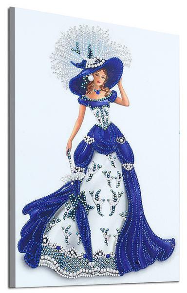 """9/19: Fancy Woman in Blue Dress (Partial) 9.5""""x11.5"""" (#1698)"""