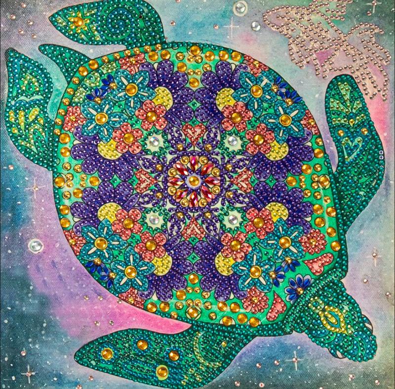 """9/23: Pretty Turtle (Partial) 9.5""""x9.5"""" (#373)"""