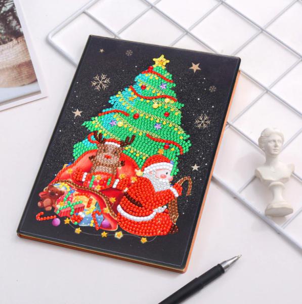 Christmas Tree on Black Notebook (Blank)(#322)