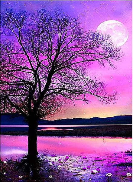 "7/10: Tree in Purple Sky (Full drill - round diamonds) 10""x14"" (#1066)"