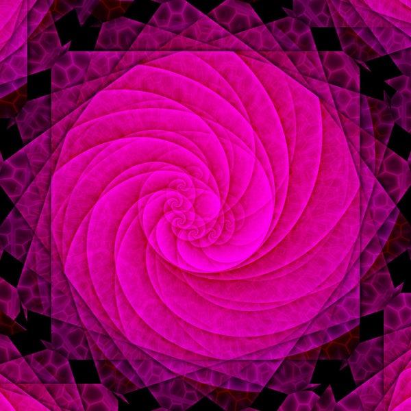 "Full drill - Square Diamonds - Pink Flower Spiral - 16""x16"" (GF-880)"