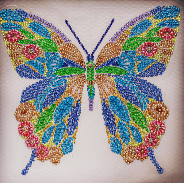 """9/16: Colorful Butterfly (Partial) 9.5""""x9.5"""" (#1556)"""