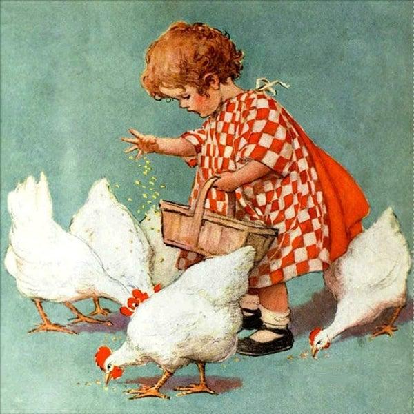 "4/17: Vintage Chickens (Full drill - round diamonds) 11.5""x11.5"" (#174)"