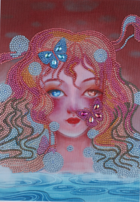 """9/23: Butterfly Mermaid (Partial) 9.5""""x11.5"""" (#67)"""