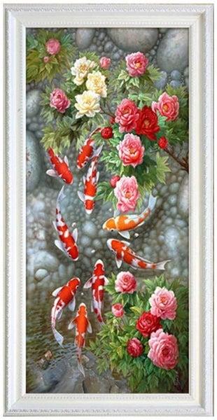 """8/7: Flowers and Fish (Full drill - round diamonds) 24""""x44"""" (#1654)"""