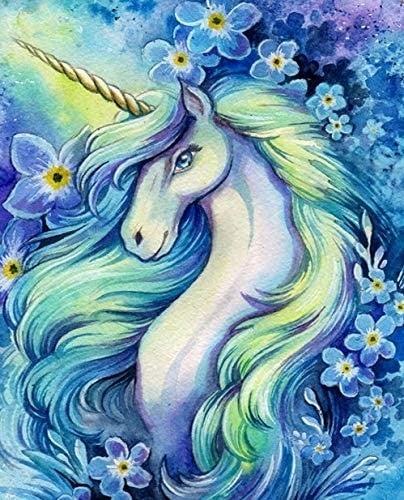 """7/31: Pretty Unicorn (Full drill - round diamonds) 9.5""""x13.5"""" (#384)"""