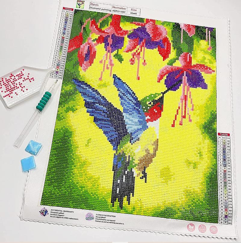 """9/21: Hummingbird in Flowers (Full drill - round diamonds) 12""""x16"""" (#1031)"""