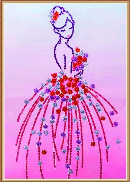 """9/23: Pink Princess (Partial) 9.5""""x11.5"""" (#1629)"""