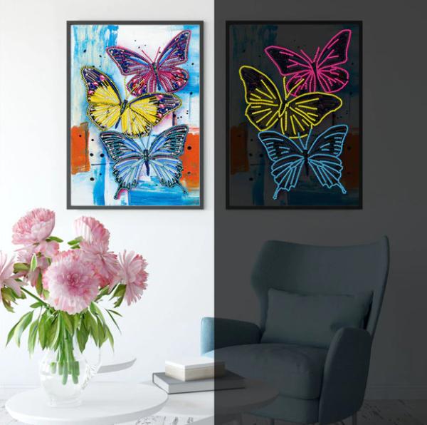 "9/9: Three Butterflies Glow in the Dark (Partial) 9.5""x11.5"" (#141)"