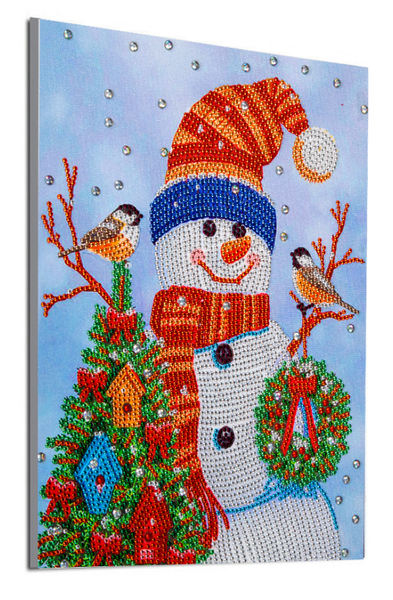 "9/23: Snowman with Birds (Partial) 9.5""x11.5"" (#1616)"