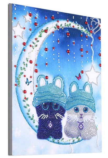 """8/24: Two Moon Cats (Partial) 9.5""""x11.5"""" (#1269)"""