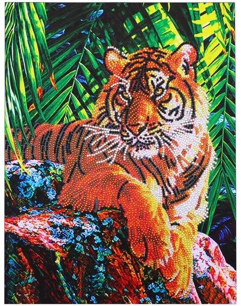 "8/31 CLUB: Rhinestone Tiger (Partial) 12""x16"" (#203)"