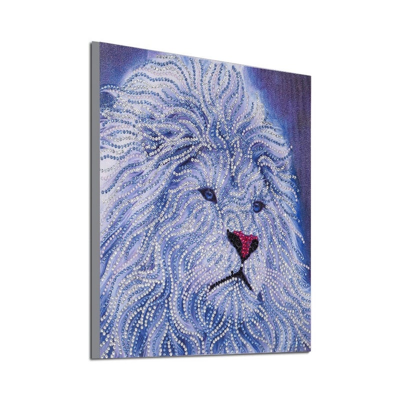 """9/19: White Lion (Partial) 9.5""""x9.5"""" (#1219)"""