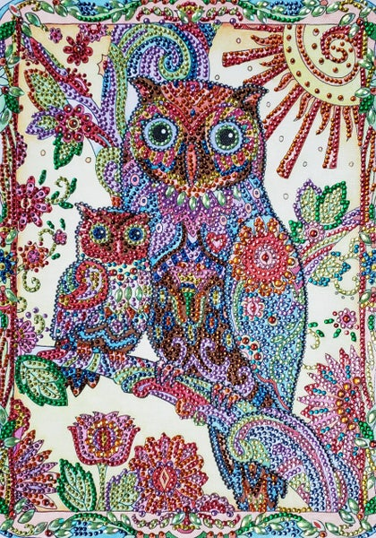 """9/11 8PM DEAL: Owls in a Tree (Partial) 9.5""""x11.5"""" (#478)"""
