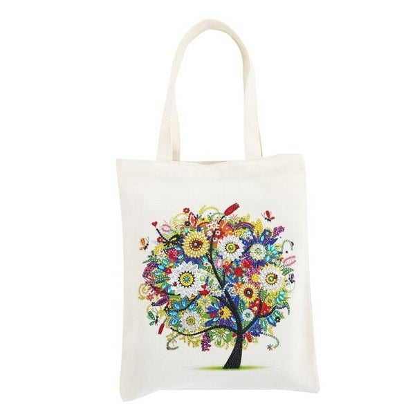 """5/6: Canvas Tote with Colorful Tree 11.5""""x13.5"""" (#562)"""