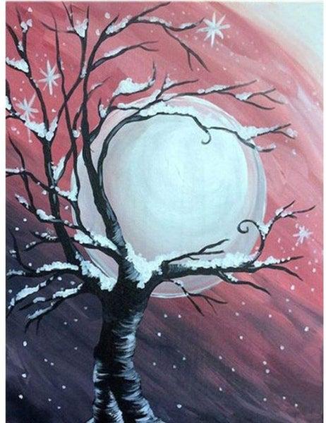"9/19: Winter Tree on Pink (Full drill - round diamonds) 9.5""x13.5"" (#1554)"