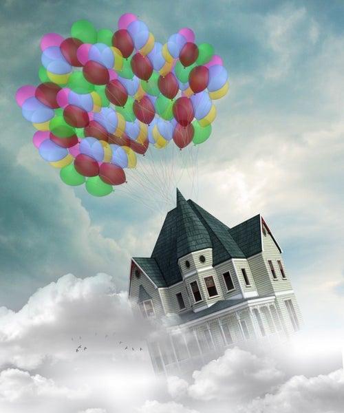 "Full drill - Square Diamonds - Balloon House - 16""x20"" (GF-2637)"